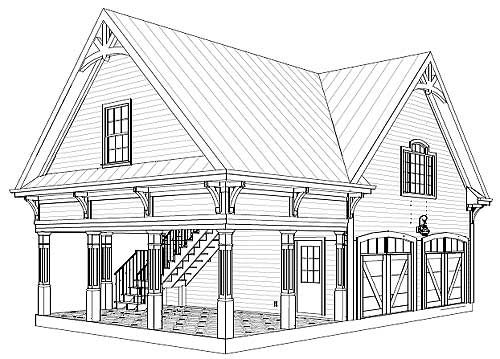 Garage with Storage Above - 20052GA   CAD Available, Narrow Lot, PDF   Architectural Designs