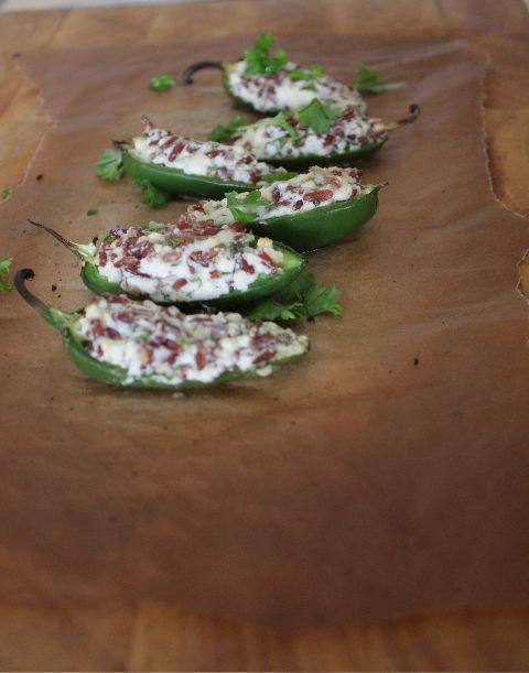Jalapeno stuffed with Red Rice, Feta and Parsley