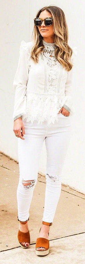 White lace long-sleeved blouse and white distressed jeans. #Spring #Outfits