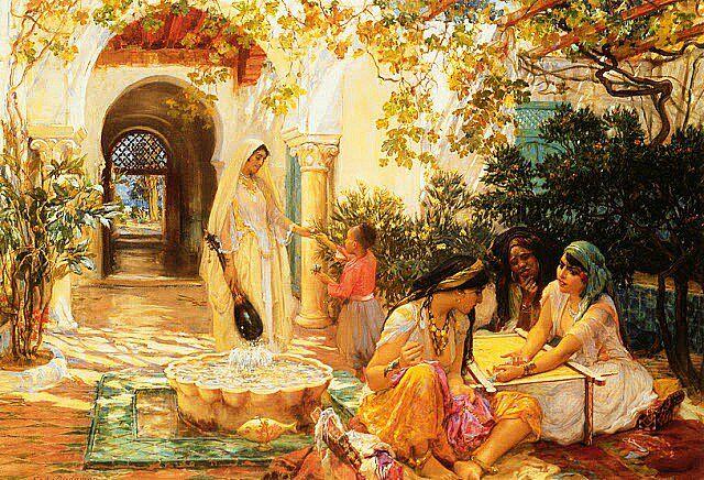 Algérie - Peintre American, Frederick Arthur Bridgman (1847-1928) , huile/ toile, Dans la cour à El Biar , Alger