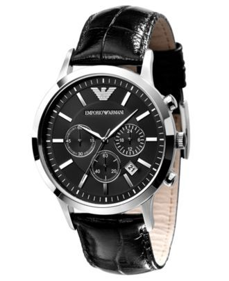Emporio Armani Black Leather Strap AR2447 Watch