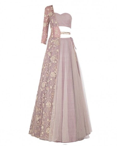Taupe and Gray Mukaish Lengha with Embroidered One Sleeve Jacket - Lenghas…