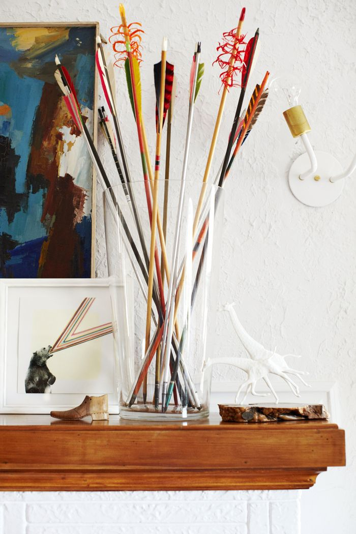 And those are the vintage arrows that I got from a thrift store for $1 a piece. I love that they do what flowers do – add height and softness, except Bearcat can't eat them and puke and then eat the puke.  Although she tries, yes she does.