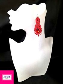 Red soutache long dangle earrings Czerwone długie kolczyki sutasz