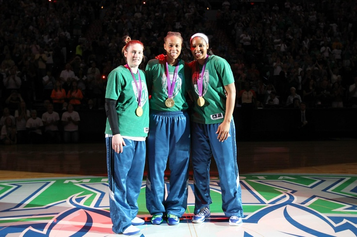 Lindsay Whalen, Seimone Augustus & Maya Moore with their 2012 Olympic gold medals