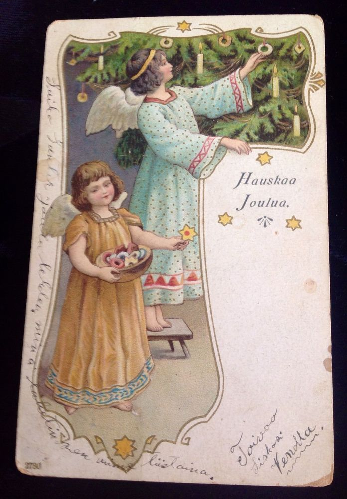 Vintage Postcard : Hauskaa Joulua (Merry Christmas, Finnish language) 1922