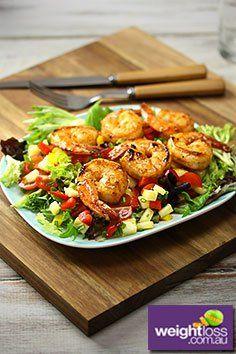 Pineapple & Capsicum Salsa with Grilled Prawns Recipe. #PrawnRecipes #DietRecipes #WeightLossRecipes weightloss.com.au