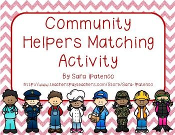 This is a set of cards, by Sara Ipatenco, with pictures of community helpers and definitions of community helpers. Students match the cards with the pictures of community helpers to their corresponding definition card. Then students write the answer to the definition on the line on each of the definition cards.