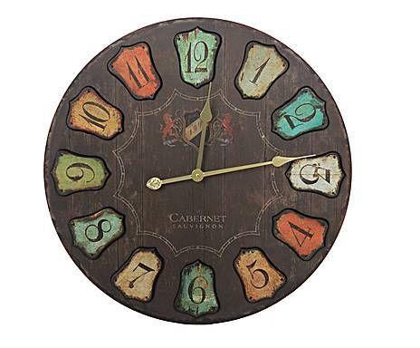 Industrial vintage: Reloj de pared en madera y metal Números