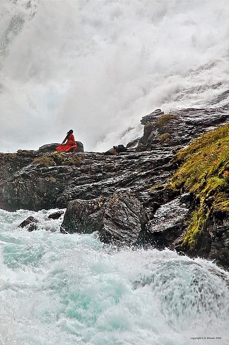 She was singing a beautiful, old Celtic song under the waterfall as we headed to  Flam, a town in the fjords of Norway. A spectacular sight!