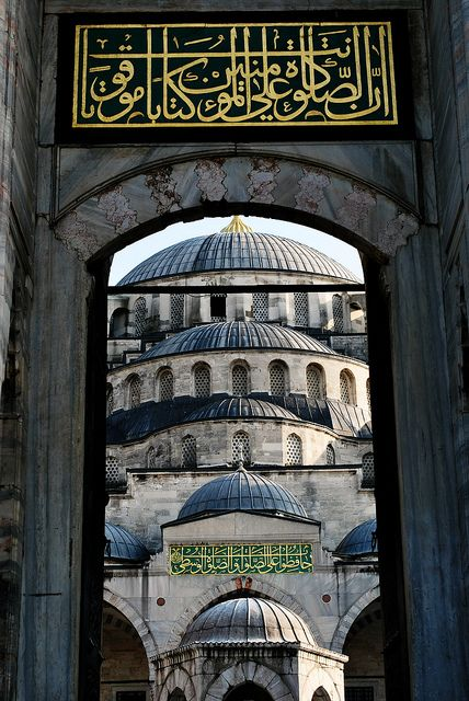 Sultanahmet Mosque,  Istanbul  • also known as the Blue Mosque • built from 1609 to 1616, during the rule of Ahmed I • design is the culmination of two centuries of Ottoman mosque and Byzantine church development