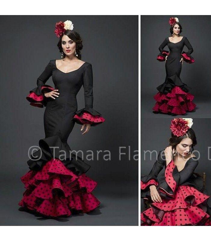 Angela - Rojo y negro - trajes de flamenca 2015 mujer - Aires de Feria