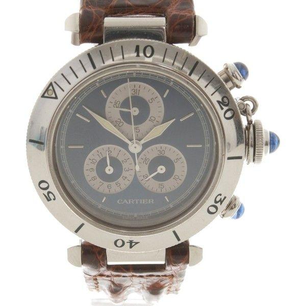 Pre-owned Watch '' Pasha de Cartier Chrono '' (£1,970) ❤ liked on Polyvore featuring jewelry, watches, black, structure watches, preowned jewelry, pre owned jewelry, preowned watches and water resistant watches