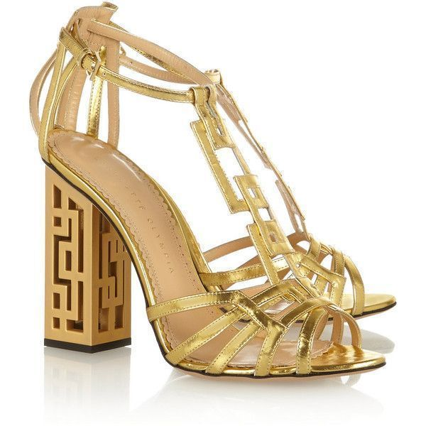 Charlotte Olympia Geometric cutout metallic leather sandals ($1,335) ❤ liked on Polyvore featuring shoes, sandals, heels, boots, leather high heel sandal, strap sandals, leather strap sandals, evening shoes and block heel sandals #charlotteolympiaheelsmetallicleather