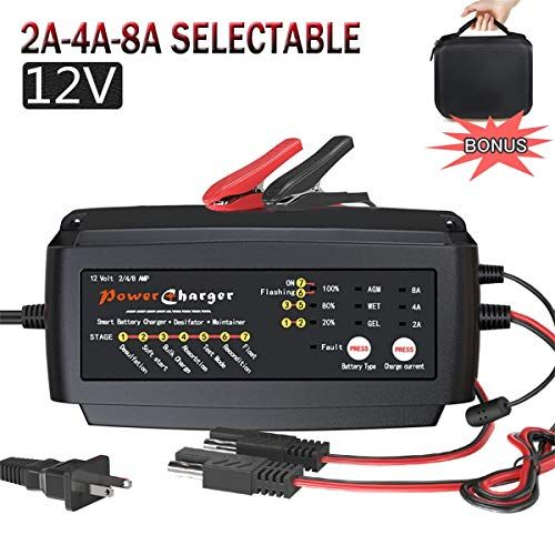 12v 2a 4a 8a Battery Charger Multi Amp Maintainer Portable Auto Trickle Float Deep Cycle 7 St In 2020 Best Battery Charger Battery Repair Car Battery Charger
