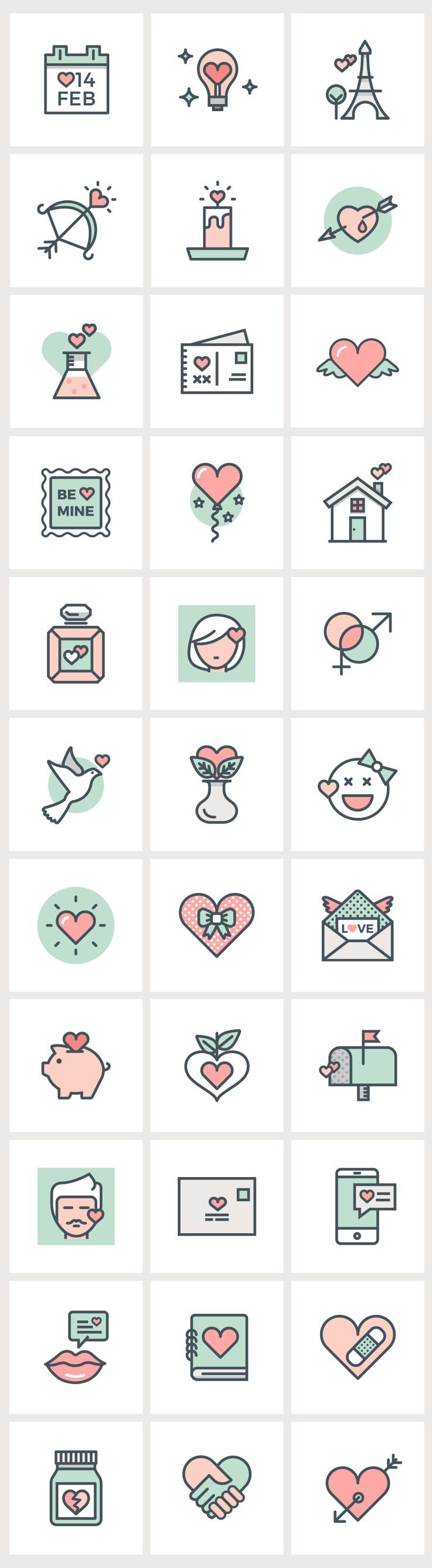 #Valentine's Day Flat Line #Icons