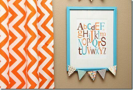 Aqua Orange alphabet art
