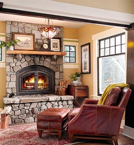 Cozy Craftsman Style Living Room With A Fieldstone Faced Hearth