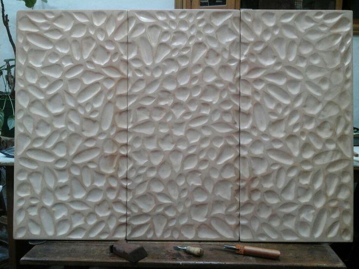 Panel de cabecero para cama, hecho a mano en cuero medio de tala vejetalizado. Concepto otoñal