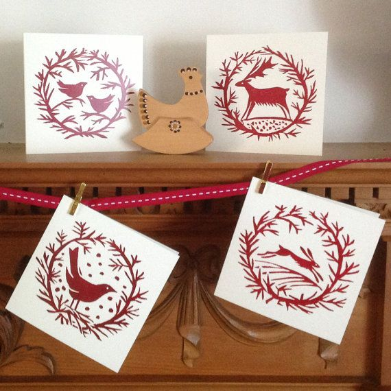 4 x mixed Garlands Christmas Cards pack by celiahart on Etsy, £7.95