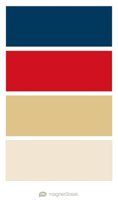 Navy, Classic Red, Gold, and Champagne Wedding Color Palette - custom color palette created at MagnetStreet.com