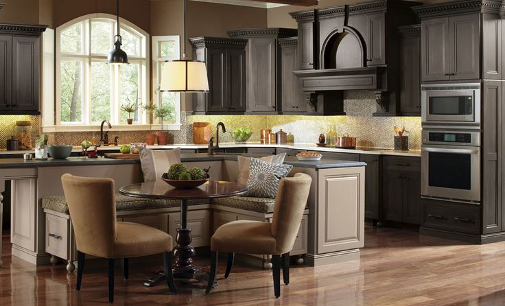 Kitchen and Bathroom Cabinets | Omega Home - Benches built in to back of island ... with table