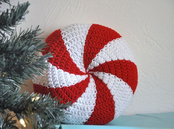 Adorable Christmas pillow!!!  Peppermint  Pillow Cushion Christmas Home Decor by AllThingsGranny, $40.00