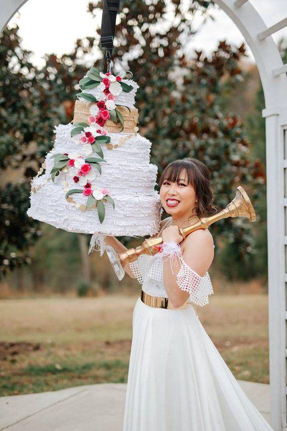 Wedding Cake Pinata White Wedding Pinata Cake Pinata Pink Wedding Cake Wedding Modern Modern Wedding Cake