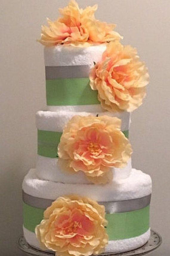 2 or 3 layer towel cake. Bath towels hand towels washcloths