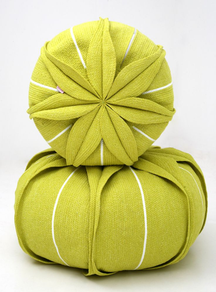 UPHOLSTERED TECHNICAL FABRIC #POUF WITH REMOVABLE LINING EUCHARIS BY DARONO #design #yellow