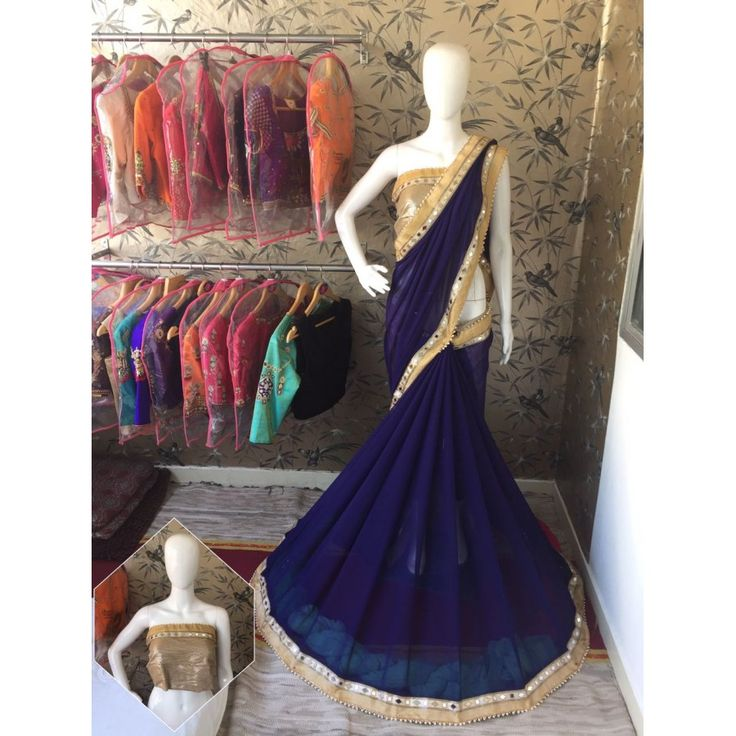 Artistic Naviblue Color Pure Georgette Saree at just Rs.1299/- on www.vendorvilla.com. Cash on Delivery, Easy Returns, Lowest Price.