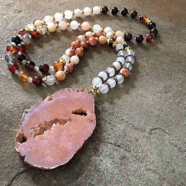 Jade necklaces for women-druzy quartz geode-handmade statement necklace-jade jewelry-picture jasper-handmade beaded jewelry-stone necklace