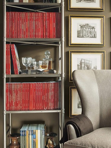Red/shelving/art stack/chair