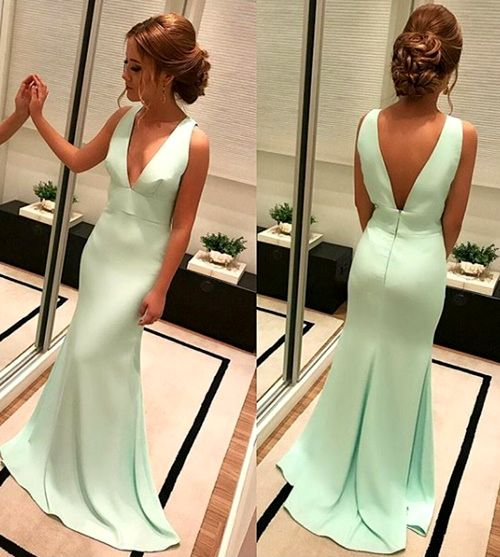 Gorgeous Deep V Neck Jersey Long Prom Dress Mint Formal Evening Gown Elegant Mint Prom Gown #dress #gown #prom #prom2018 #homecoming #formaldress #formalgown #weddingparty #promdress #promgown #evening #eveningdress #eveninggown #fashion  #vneck #mint