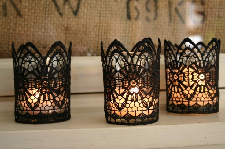 DIY Black Lace Candles: Lace Projects, Black Lace, Lace Candles, Candles Holders, Teas Lights, Halloweendecor, White Lace, Diy Halloween Decor, Diy Projects