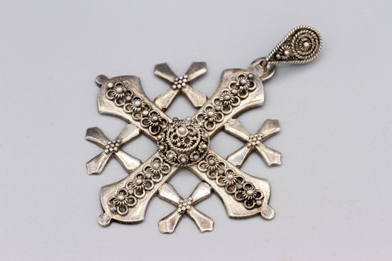 Very Large Ornate Crusaders Crucifix Maltese Cross With Etruscan Flowers Greek Cros Sterling Silver Cross Pendant Middle Eastern Jewelry Silver Cross Pendant