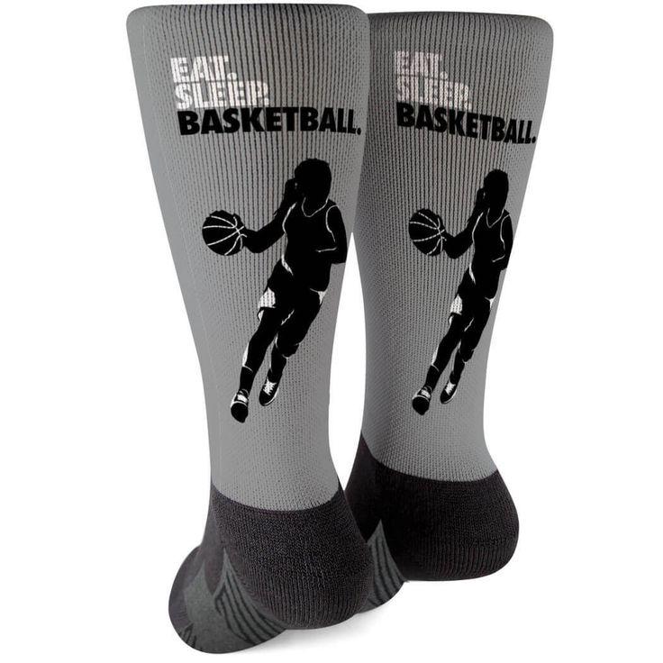 Basketball Viertellange Socken – Eat Sleep Basketball Girl | Grau | Jugend-Basketball-Geschenkidee   – Products