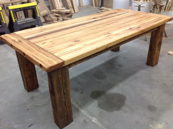 Hickory farm table side left reclaimed wood michigan for How to build a wooden table from scratch