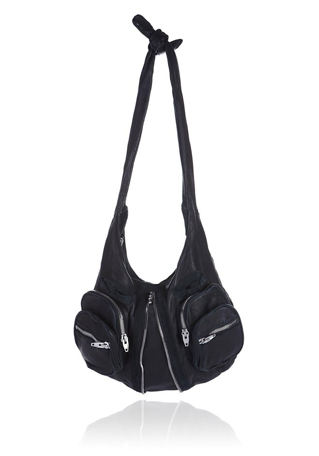 Black leather hobo. I want! Front zipper allows for expansion. Biker chic.