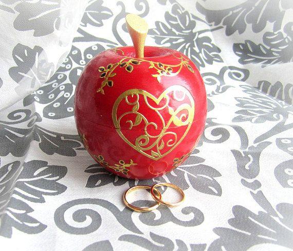 Ring bearer box red apple box wooden ring box wooden apple