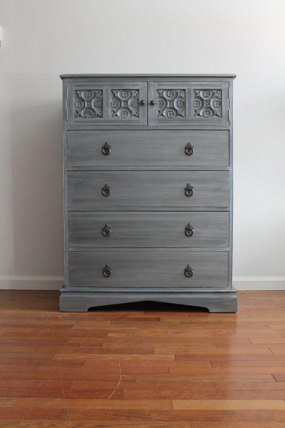 Vintage Chic Blue Grey Metallic Dresser Chest By