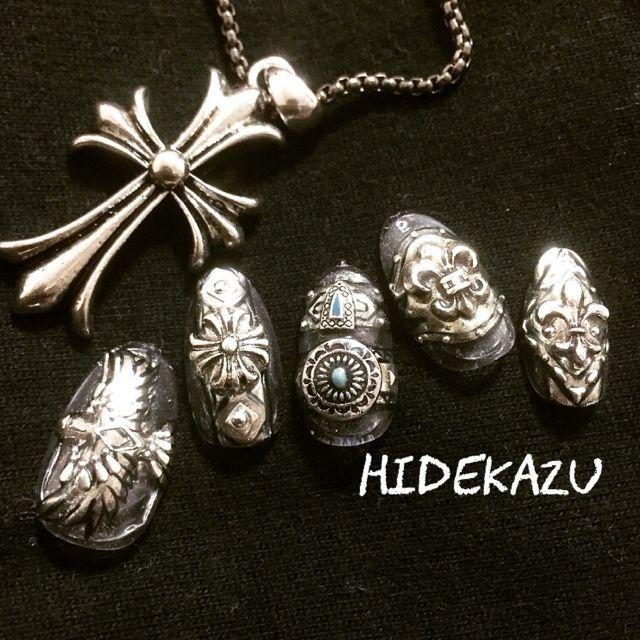 hidekazuさんのアンティーク,ブラック,シルバー,メタリックネイル♪[1741920]|ネイルブック