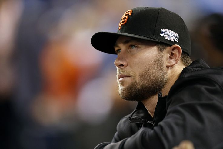 Giants Hunter Strickland looks out at the field before Game 2 of the World Series at Kauffman Stadium on Wednesday, Oct. 22, 2014 in Kansas City, Mo.