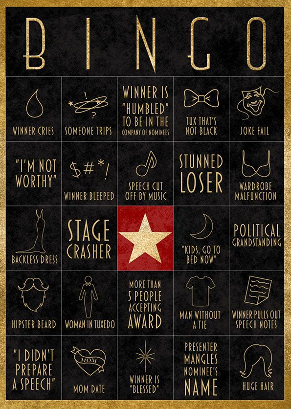 This year, win your own awards party… play awards party bingo! To ensure guests stay engaged well into the broadcast's fifth montage, play along with our exclusive, printable awards party bingo cards as you watch the show. Just print out the cards and hand out to your guests, and during the show, mark off the appropriate square as you spot the corresponding thing on screen. The first person to get five in a row is the winner — no envelope necessary.