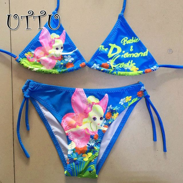 Sexy String Bikini Set Girls Beach Biquini Children Print Floral Swimsuit Blue Green Bathing Suit Micro Swimwear