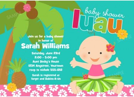 Luau Baby Invitation For Baby Shower Or Birthday By PixelParade