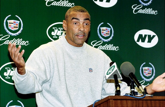 Jets head coach Herman Edwards addresses the media at Hofstra University on Monday December 13, 2004.