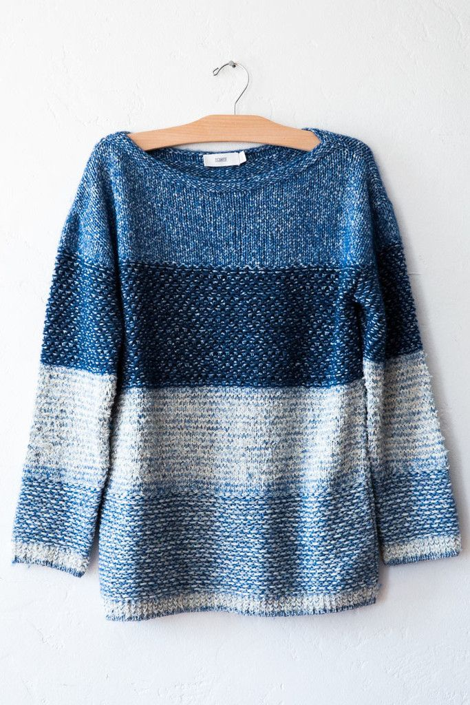 closed ocean blue knit sweater – Lost & Found