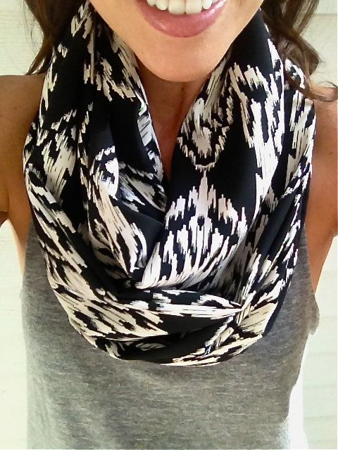 Black and White Aztec Infinity Scarf by dAnn #fall, #scarf, #infinityscarf, #aztec