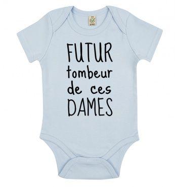 Body Futur Tombeur par Shaman. Body manches courtes pour bébé 100% coton bio imprimé en France. Livraison Gratuite - SOLDES JUSQU'A -30%